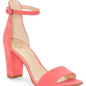 Vince Camuto chunky heels Coral peach shoes Sz8.5